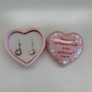 Silver Rose Earrings & Pink Dish